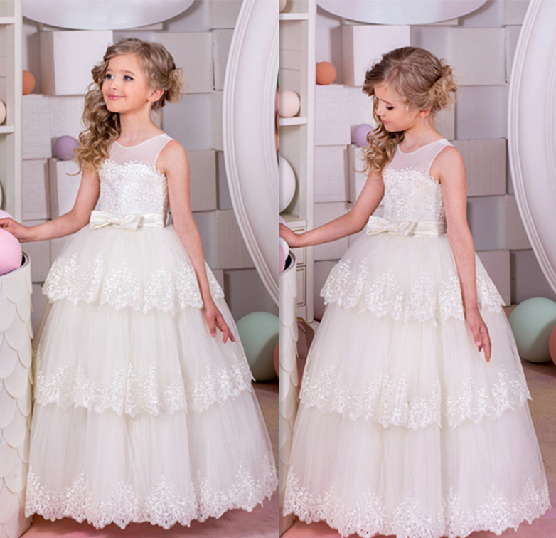 Aliexpress Whiteivory Lace Ball Gown Flower Girl Dress For