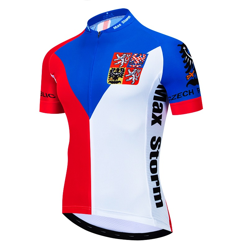 2019 New Team czech republic Cycling Jersey Customized Road Mountain Race Top max storm Reflective zipper 4 pocket in Cycling Jerseys from Sports Entertainment