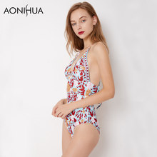 AONIHUA Sexy Swim Suits 2018 Backless Print Floral Swimsuit Women Retro One-piece Beach bathing suits Sleeveless Swimwear 9048