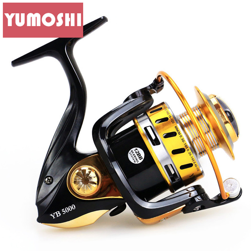 YUMOSHI Quality YB 2000-6000 5.5:1 Spinning Reel 12BB Fishing Reel fly Wheel Carp Fishing Tackle