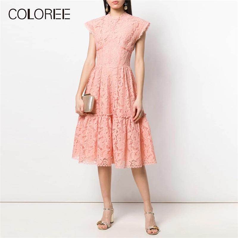 COLOREE haut de gamme piste Designer robe élégante 2019 rose dentelle volants sans manches tenue décontractée femmes robe de soirée Midi