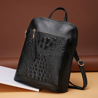 2018 First Layer of Calf Leather Aligator Pattern Women's Backpacks Genuine Leather Cowhide Shoulder Bags Travel Black