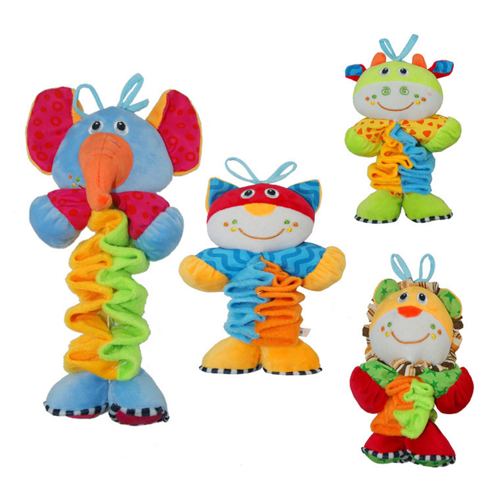 New Infant Baby Soft Plush Doll Toy Early Educational Toy Cute Soft Animals Pattern Crib ...
