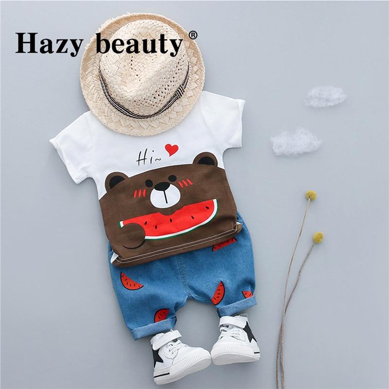 2018 Hot Sale Baby Boy Clothing Children Summer Cartoon Kids Watermelon Bear Cute Cartoon Boy Clothing Set T-Shirt+Pants