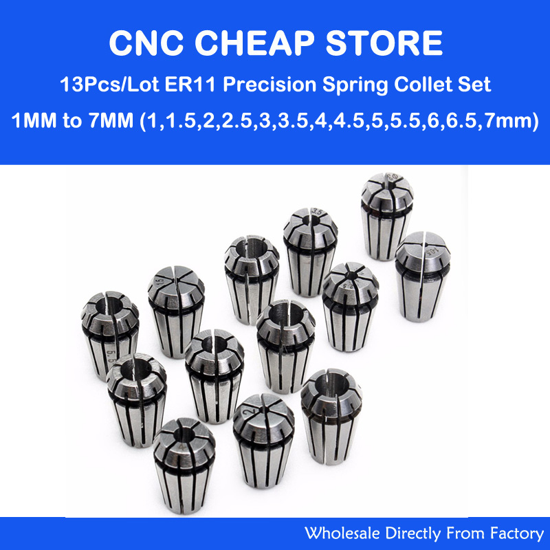 13Pcs ER11 Collet Chuck Cnc Spindle ER11 Collet Lathe Tool Holder Pinza Set 1-7MM For CNC Router Engraving Milling Lather Tool