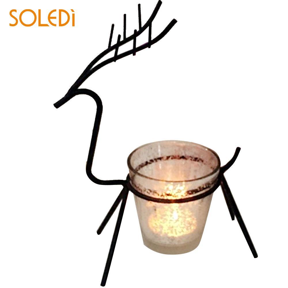Discreet Kerst Kaars Elanden Houder Ijzer Zwarte Kandelaar Tafel Licht Herten Stand Thuis Kamer Decor Kaars Stok