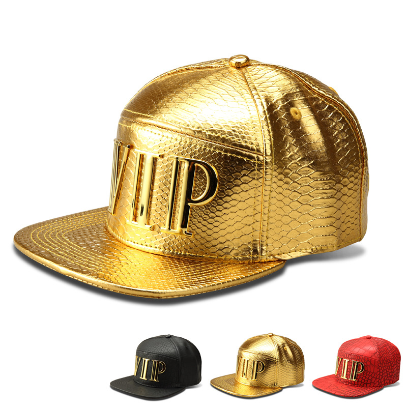 men bboy gold leather chain skull snapback casual flat baseball cap hat cool
