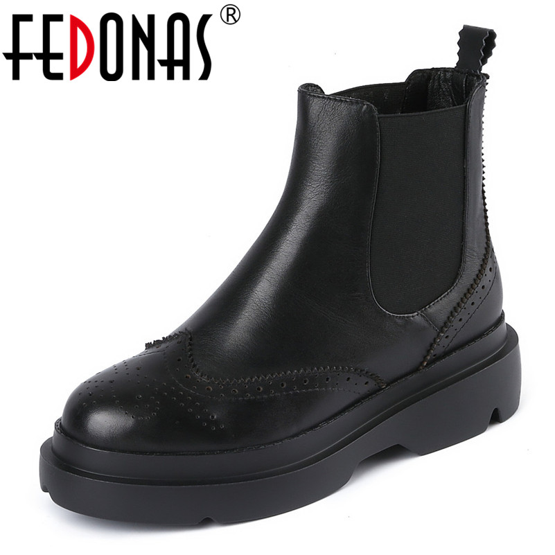 FEDONAS Women High Heel Short Ankle Boots Winter Martin Snow Shoes Woman Fashion Warm Motorcycle Boots Platforms Basic Boots