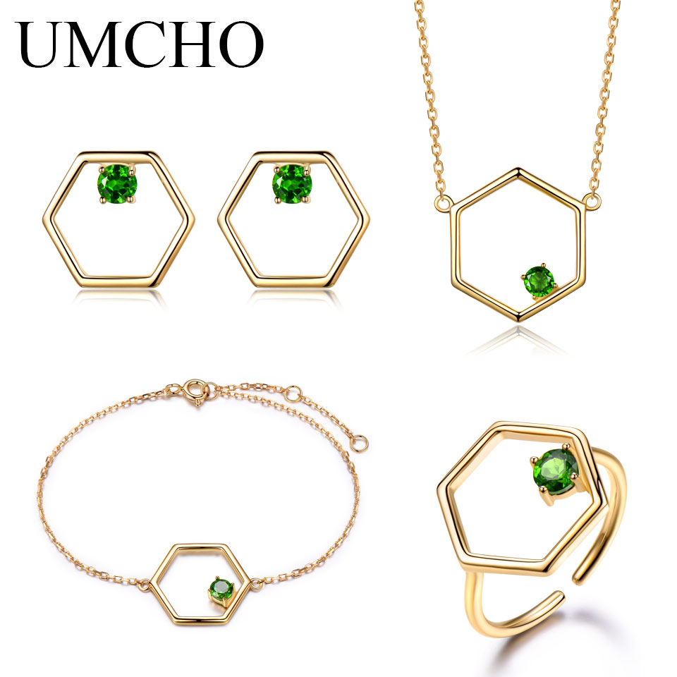 UMCHO Natural Diopside Gemstone Jewelry Set  Real 925 Sterling Silver Necklace Ring Earrings Bracelet For Women Fine JewelryUMCHO Natural Diopside Gemstone Jewelry Set  Real 925 Sterling Silver Necklace Ring Earrings Bracelet For Women Fine Jewelry