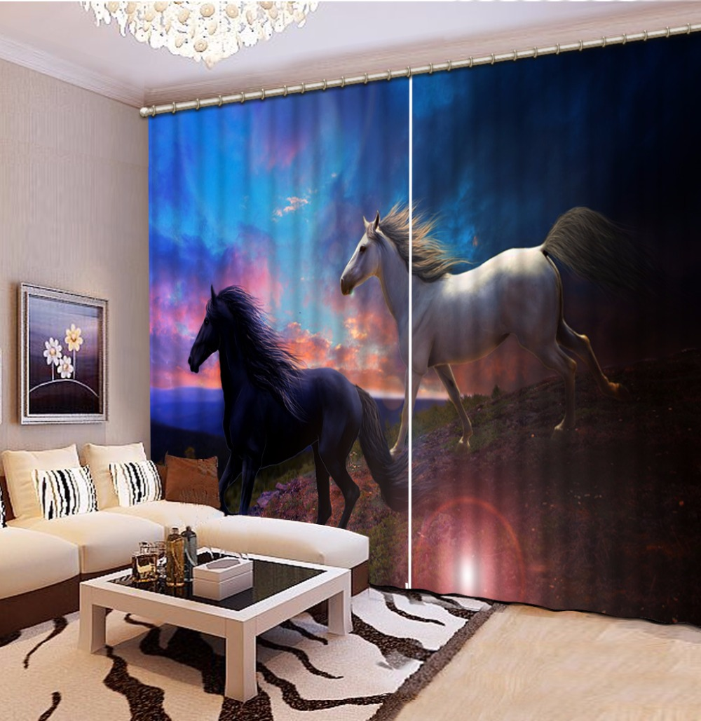 Horse Curtains For Bedroom.Us 66 0 56 Off Window Treatments Curtains Drapes Design Horse Curtains For Bedroom Animal Kids Grils Room Curtains In Curtains From Home Garden On