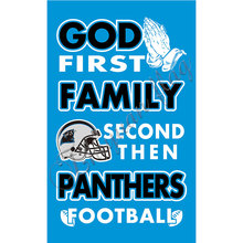 Newest custom Carolina Panthers flag God First Family flag Second then  Panthers football flag 100D Polyester with 2 gromments