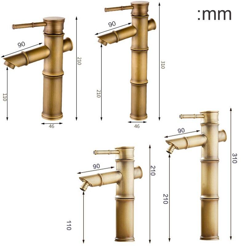 Antique Brass Bamboo Bathroom Sink Faucet Lavatory Vessel Sink Hot ...