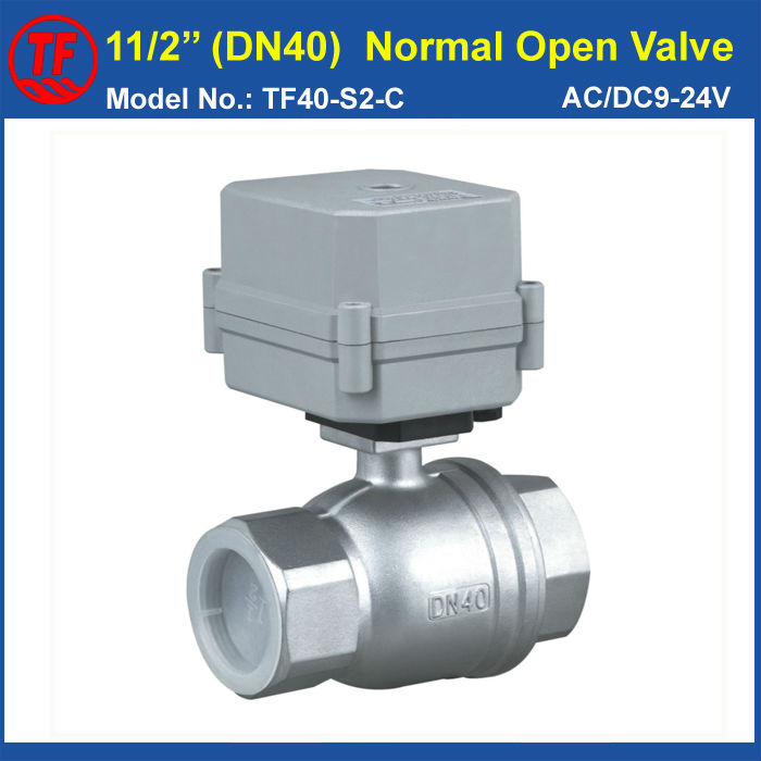 1-1/2'' (DN40) Normal Open motorized Valve AC/DC9-24V 2 Wires 2-Way Stainless Steel Full Port For Water Control System cwx 25s stainless steel motorized ball valve 1 2 dn15 water control angle valve dc9 24v 2 way wires cr 04