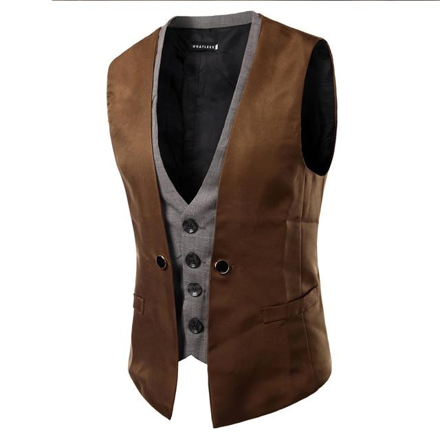 2016 Gentleman Fake Two Dress Vest Casual Mens Slim Fit Waistcoat Autumn And Winter Warm Windbreak Mens Vest  6 ColorsPM12