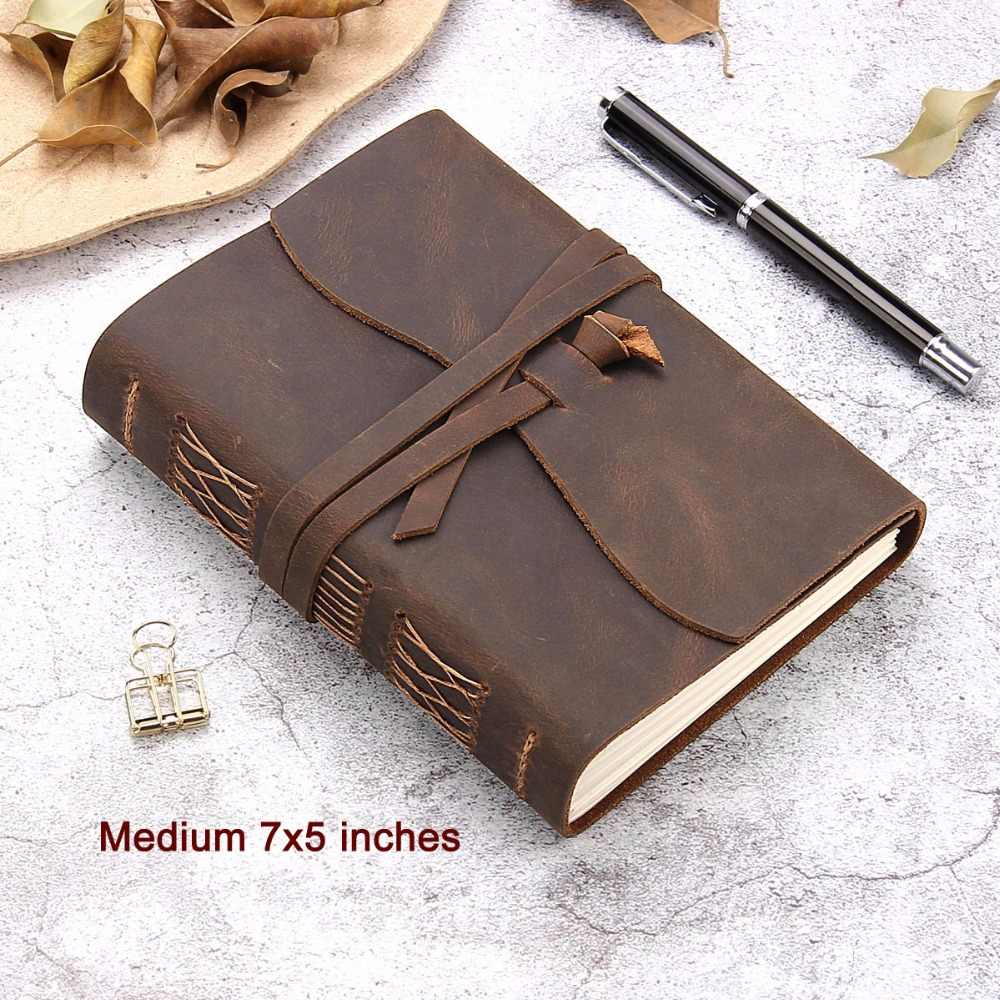 Leather Journal Travel Notebook, Handmade Vintage Leather Bound Writing Notebook for Men & Women, Unlined Travel Journal to Writ