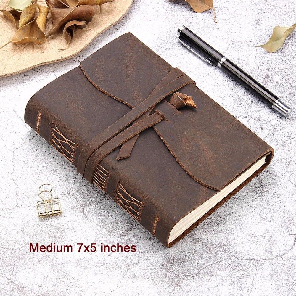 Carnet de voyage en cuir, carnet d'écriture en cuir Vintage fait main pour hommes et femmes, Journal de voyage sans doublure