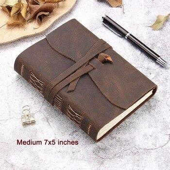 Leather Journal Reizen Notebook, Handgemaakte Vintage Leer Gebonden Schrijven Notebook voor Mannen & Vrouwen, ongevoerd Reisverslag te Dagvaarding
