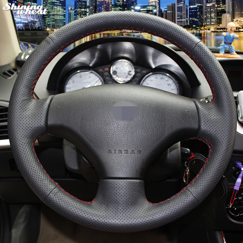 Shining wheat Hand-stitched Black Leather Steering Wheel Cover for Peugeot 206 2007-2009 /207 / Citroen C2 shining wheat hand stitched black leather steering wheel cover for citroen elysee c elysee citroen xsara picasso