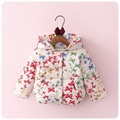 2016 Otoño Invierno Nueva Corea Chica Impresión de La Mariposa de la ropa de Los Niños Engrosamiento Ropa Niña Bebé Chaqueta de Algodón acolchado