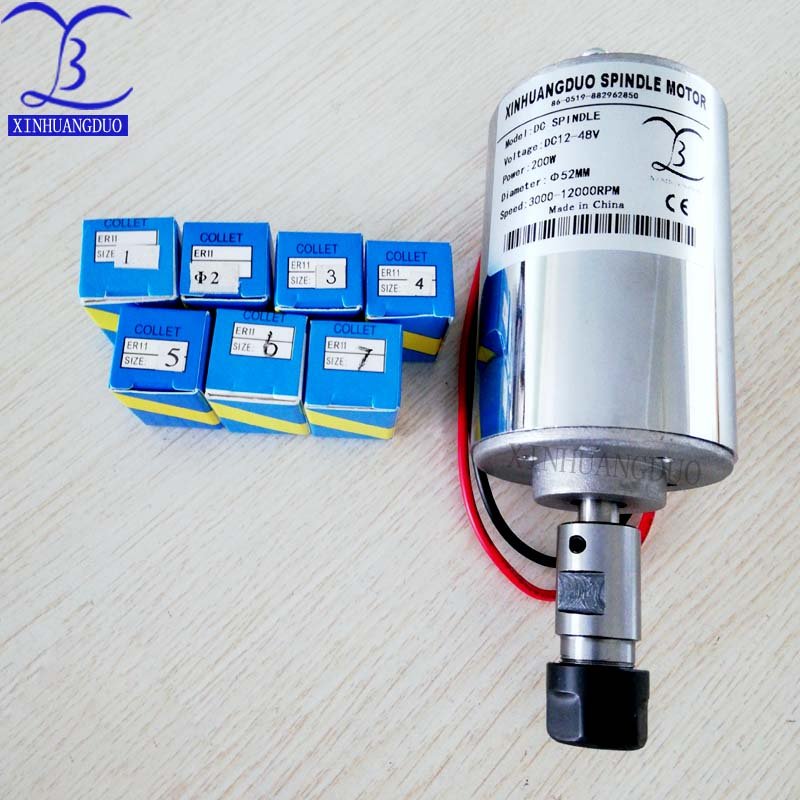 <font><b>200w</b></font> motor air cold <font><b>cnc</b></font> engraving machine <font><b>spindle</b></font> <font><b>spindle</b></font> DC motor <font><b>CNC</b></font> engraving machine + ER11 chuck (1mm-7mm) image
