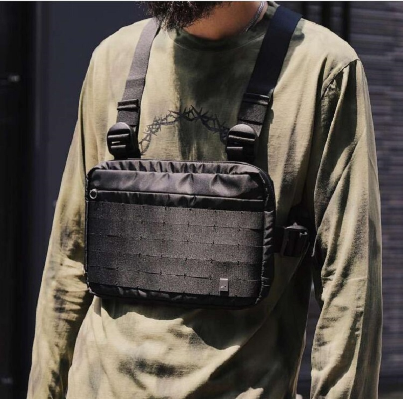 Black  Alyx Chest Rig Bags Hip Hop Streetwear Functional Tactical Chest Waist Pack Cross Shoulder Bag Bolso Kanye West