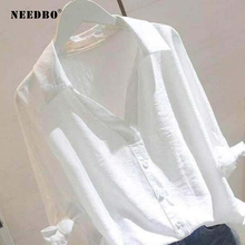 NEEDBO White Blouse Women Shirts and Blouses 2019 Half Sleeve Plus Size Tops office Casual Blusa Mujer