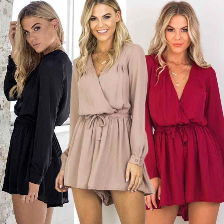 Summer jumpsuit women rompers Sexy bodysuit V-neck playsuit  Long Sleeve catsuit Chiffon Playsuit Ladies Jumpsuit