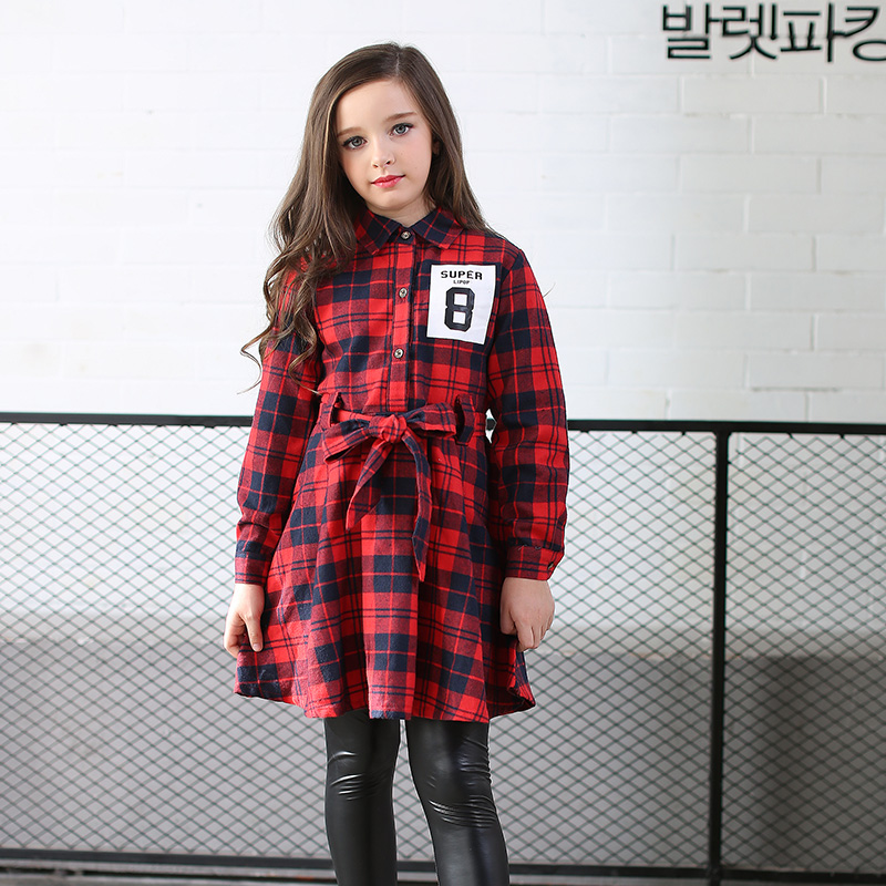 Plaid Girls Dresses Long Sleeve 2017 New Girls Clothes Cotton Children Dresses  Clothing Girl Clothing Kids Dresses 2017 children clothing child clothes cotton long sleeve baby girl dress kids girls princess red plaid dresses with belt