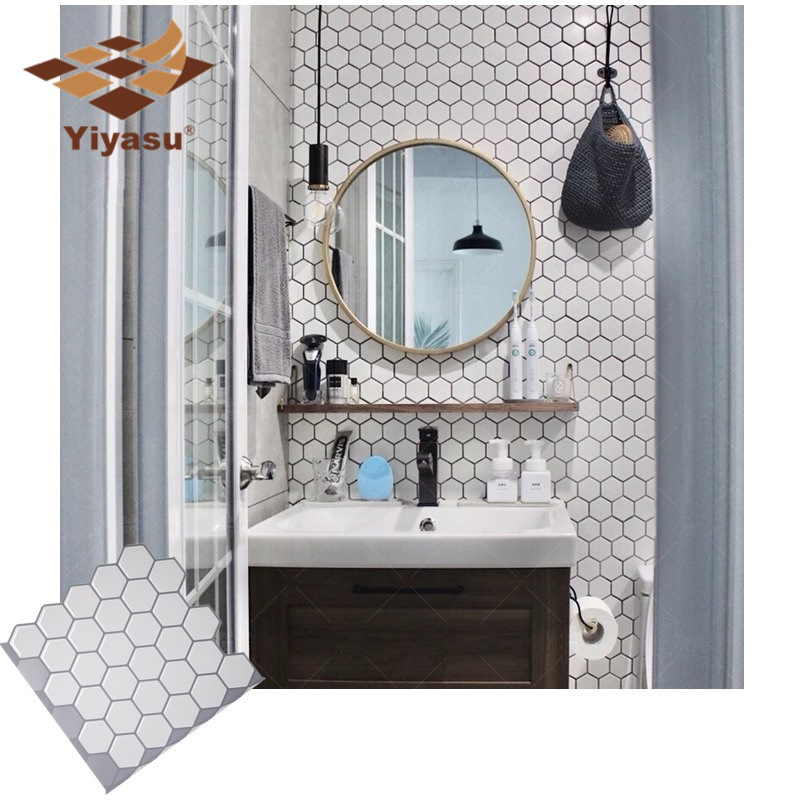 Us 3 59 40 Off Hexagon Off White Vinyl Sticker Self Adhesive Wallpaper 3d Peel And Stick Square Wall Tiles For Kitchen And Bathroom Backsplash In