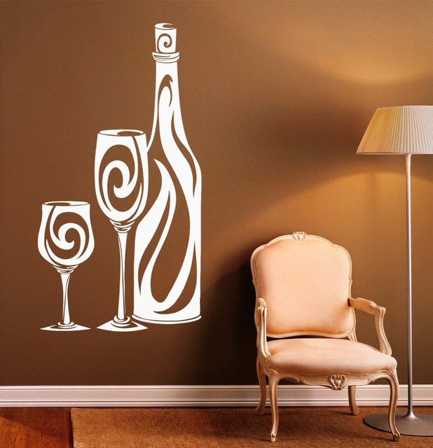 Wine Bottle Pattern Wall Decal Vinyl Glass Housewares