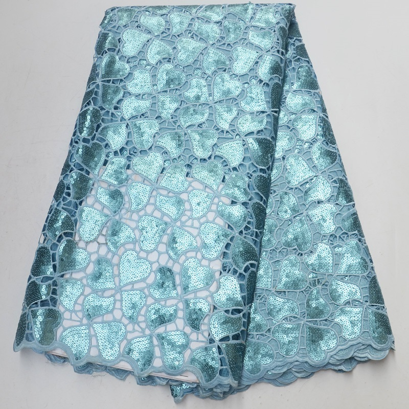 Free shipping 5yards pc high quality aqua green African sequins lace handcut organza lace fabric for