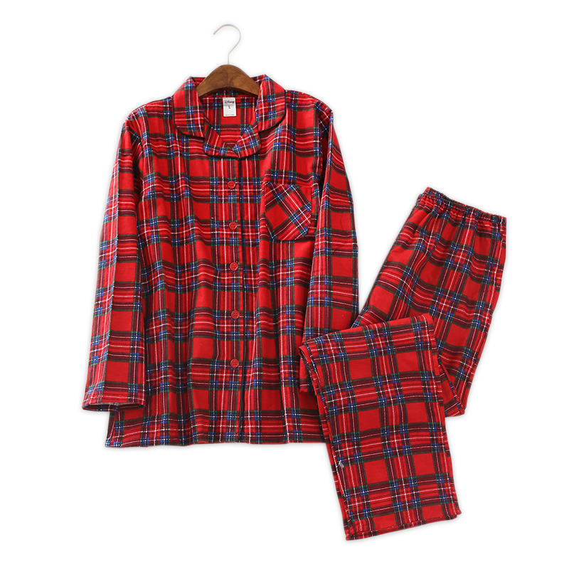 Winter 100% brushed cotton women   pajamas     sets   sexy plaid pijamas women pyjamas casual cartoon ladies sleepwear pijamas mujer