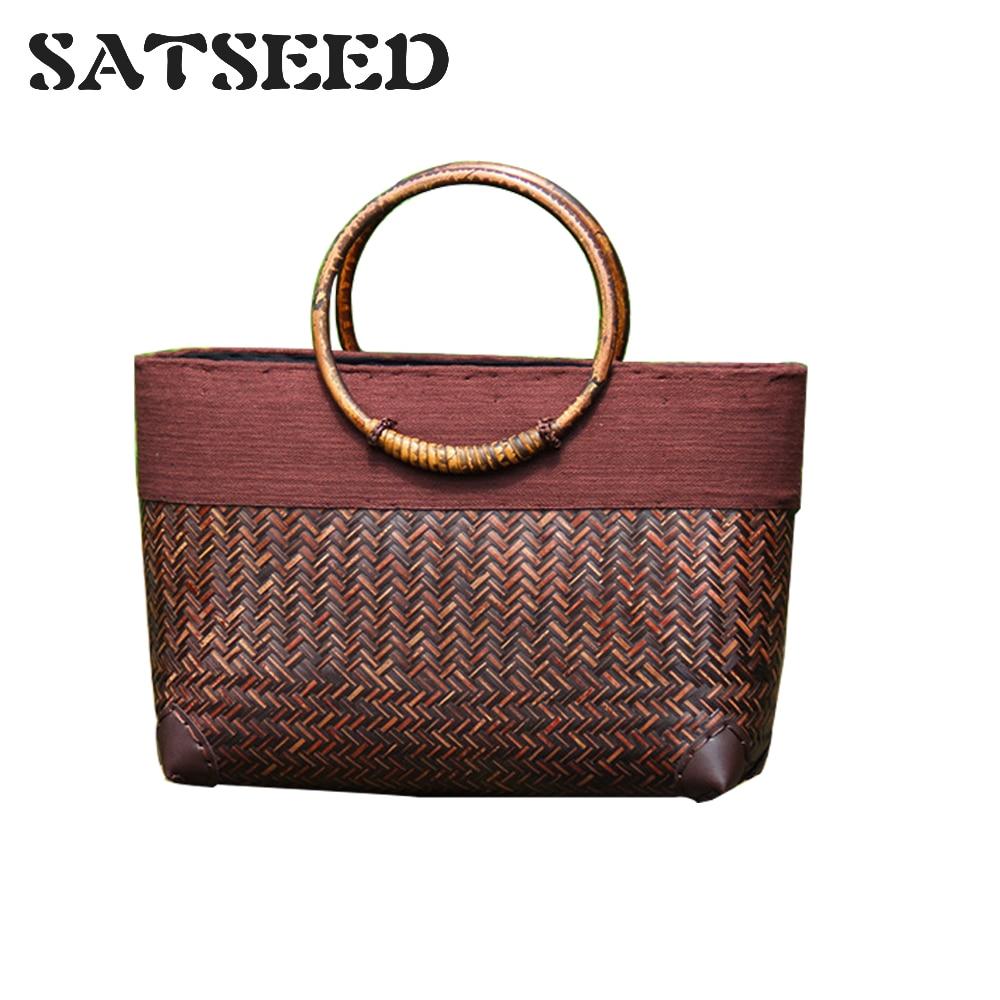 New Women's Bag Thai Bamboo Bag Beach Bag Travel Beach Rattan Hand-woven Handbag цена