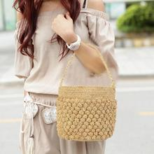 Bohemian casual style Beach Hand Straw Woven Bucket Bag Tote Braided Shoulder Bags Handbag For Women Summer Fashion Totes