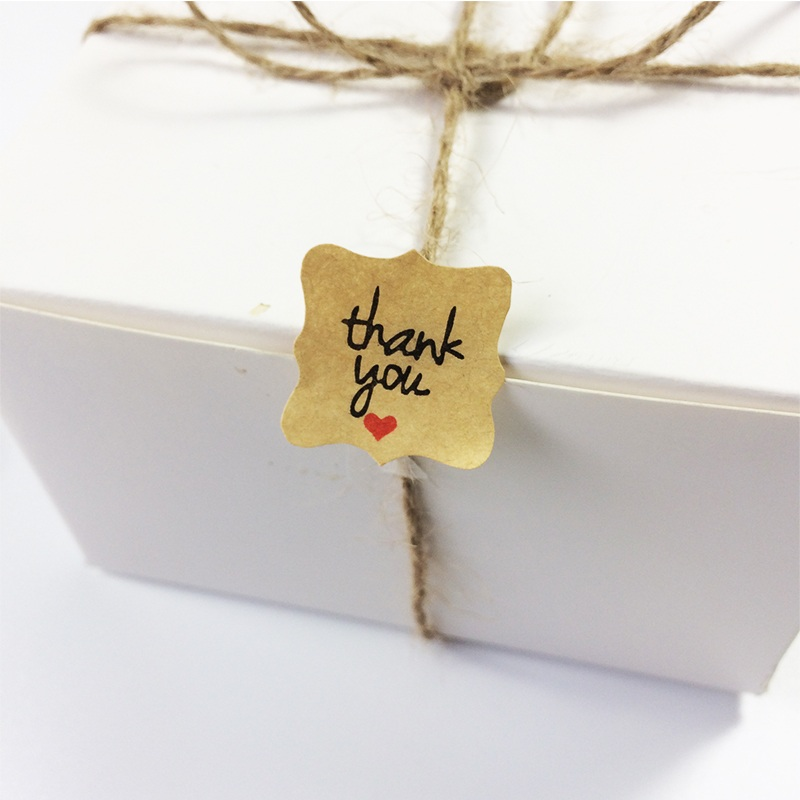 """Купить с кэшбэком 120pcs  """"Thank you with red heart""""kraft paper seal stickers for handmade products DIY packaging label Adhesive Sticker"""