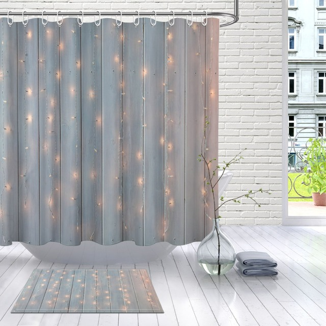LB Christmas Lights Burning On A Wooden Farmhouse Barn Shower Curtain And Mat Set Waterproof Bathroom
