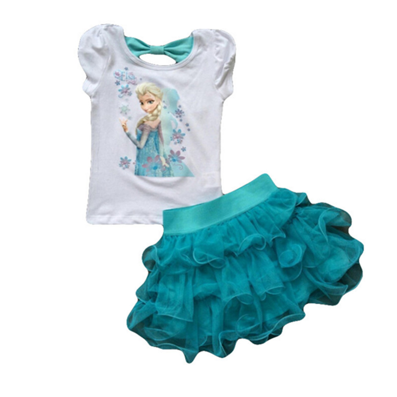 Children s clothing set 2017 new summer girls princess dress t shirt sets kids clothes kids