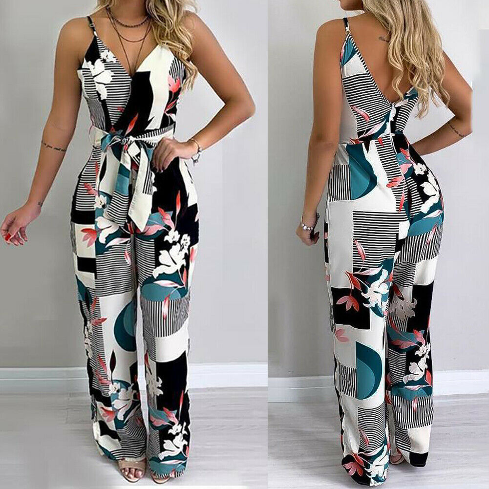 Women Summer Beach Wide Leg Holiday Jumpsuit Ladies Evening Party Sexy Floral Print Sleeveless V-neck Playsuit