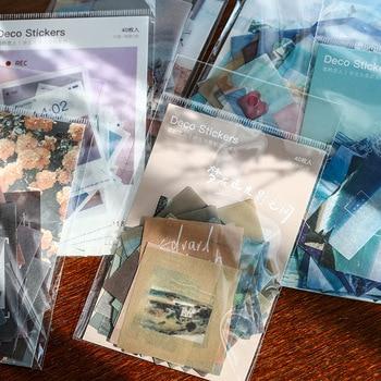 40pcs/pack Creative Journal Decorative Sticker Label Diary Stationary Japanese Deco Photograph Album Sticker Flakes Scrapbooking 1