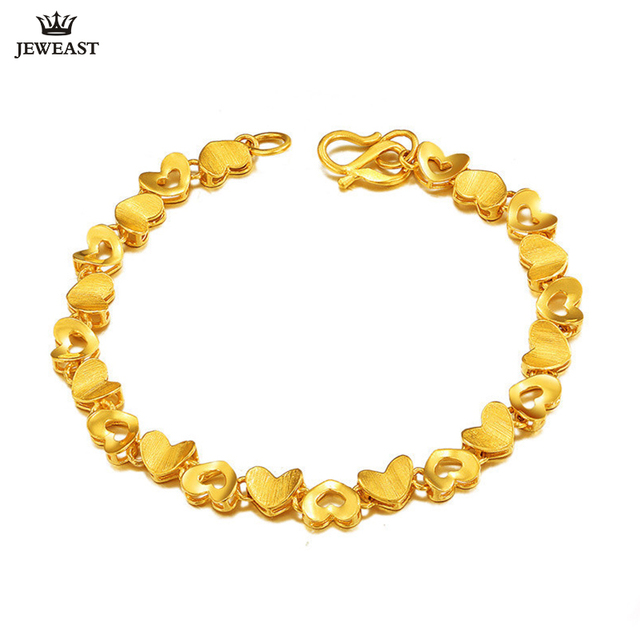 703806d05 24K Pure Gold Bracelet Real 999 Solid Gold Bangle Simple Beautiful Heart  Fashion Trendy Classic Party