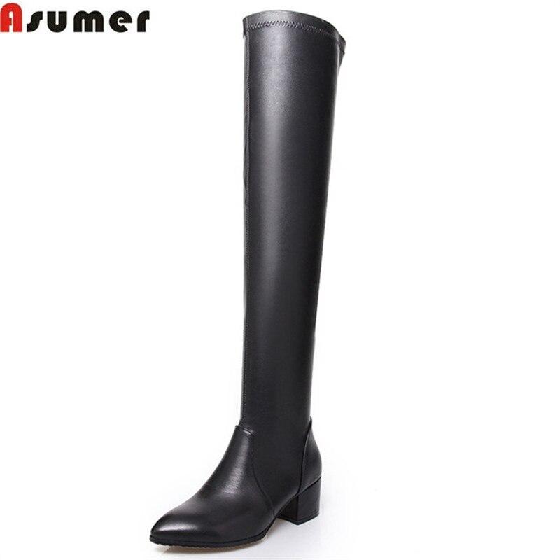 купить ASUMER 2018 new arrive woemn boots fashion High-quality pu+ genuine leather ladies boots simple black over the knee boots по цене 4243.04 рублей