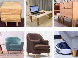 Image 5 - 10cm Height Wooden Oblique Tapered Reliable Wood Furniture Cabinets Legs Sofa Feet with Plate Set of 4