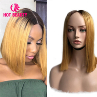 Hot Beauty Hair Bob Lace Front Wigs Brazilian Virgin Hair Human Hair Wig Silky Straight 4*4 lace Blonde P4/27 150 density wig