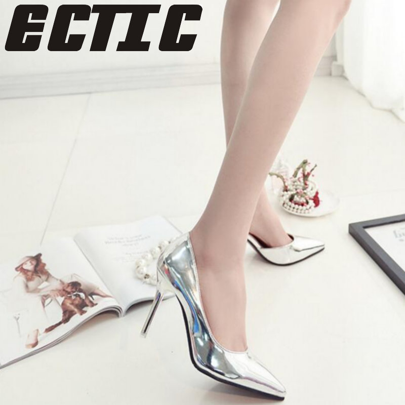 ECTIC 2018 New Spring Autumn Women Pumps Sexy Silver High Heels Shoes Fashion Pointed Toe Wedding Shoes Party Women Shoes YA-09 цена