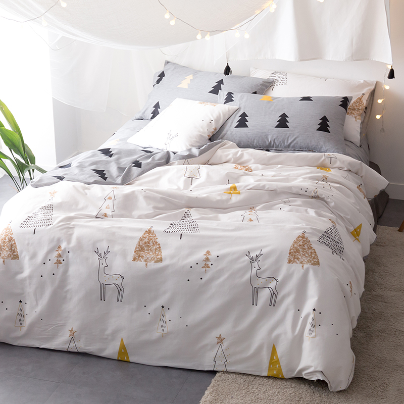 Christmas trees deers twin queen king size bedding 3 4pcs for Housse de couette king size
