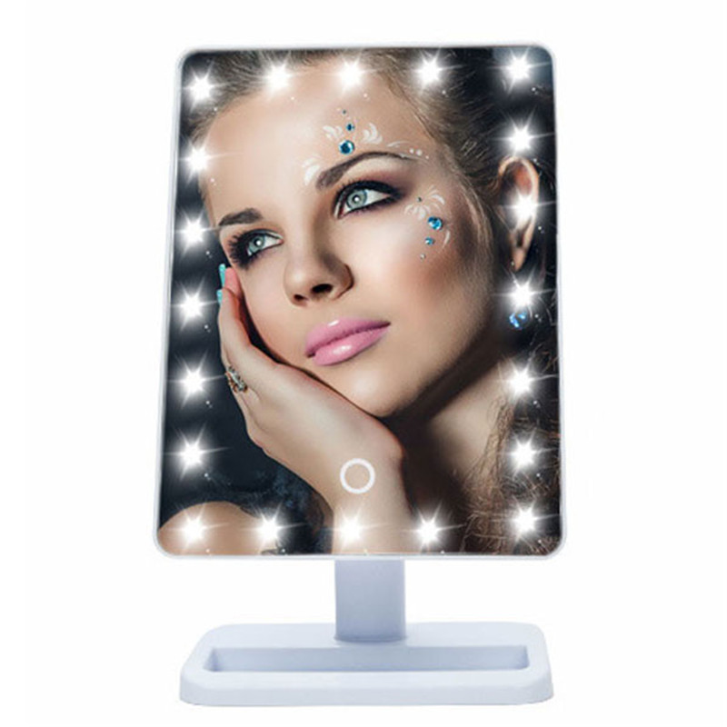 Large Portable Table 20 LEDs Light Lamp Luminous 180 Rotating Stand Square Compact Makeup Shaving Travel Mirror No Magnifying