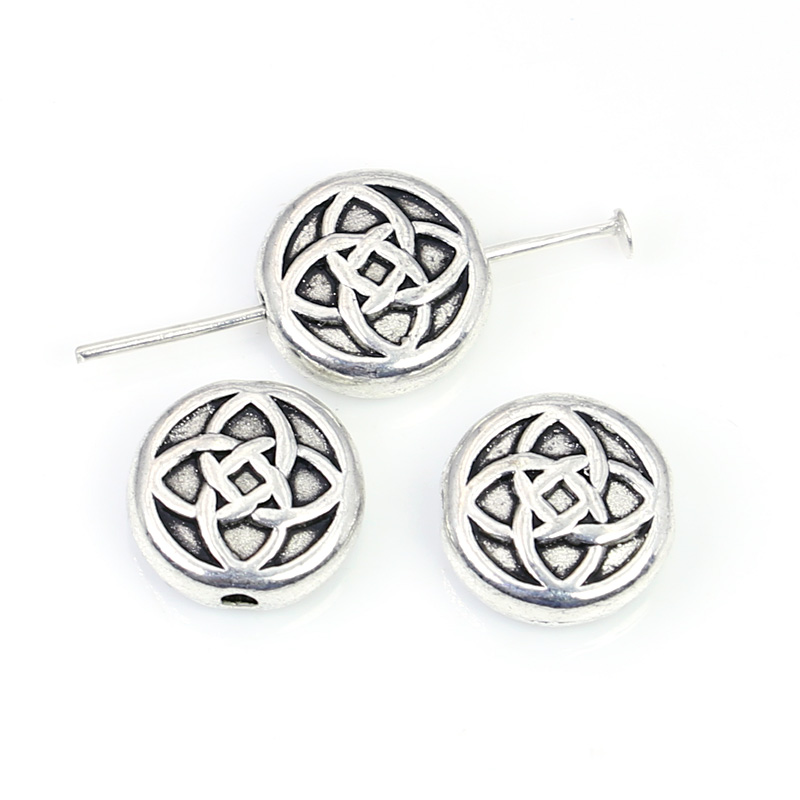 JAKONGO Antique Silver Plated China Knot Spacer Beads for