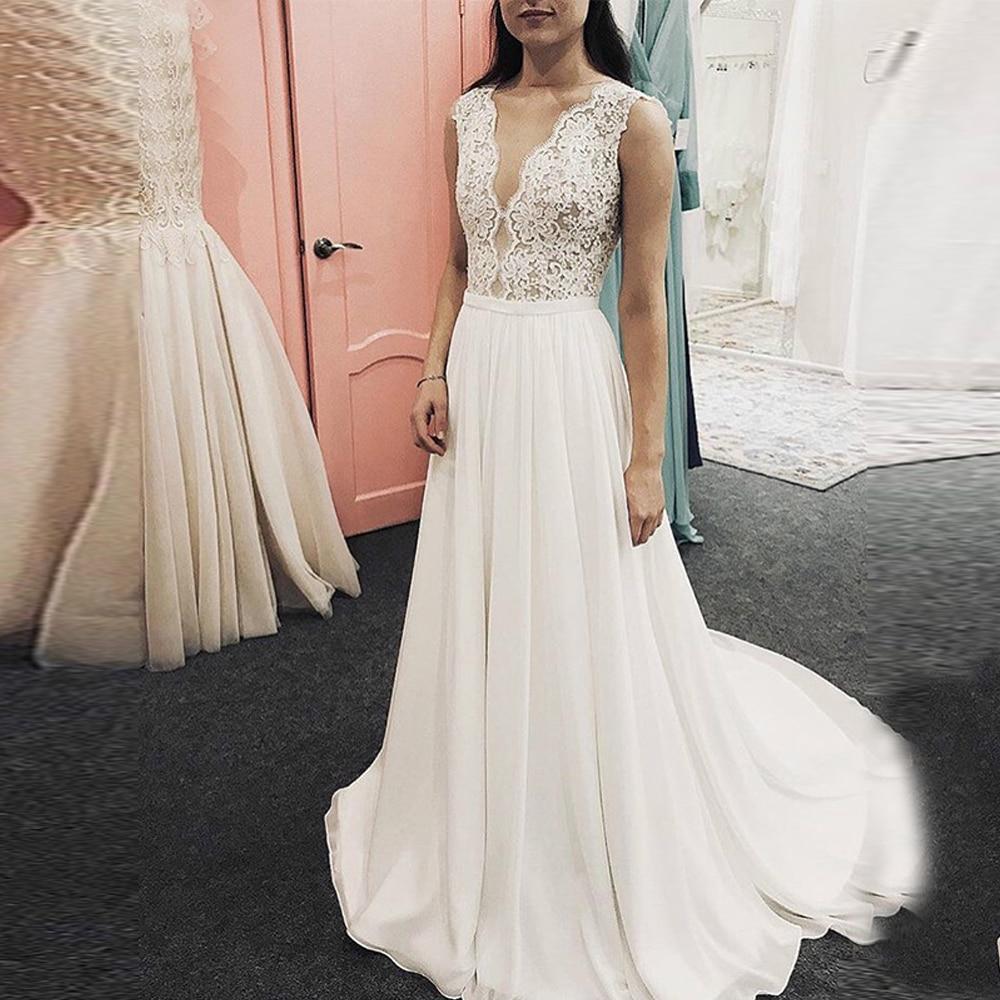 A Line Boho Wedding Dresses 2019 Lace Chiffon Backless Beach Wedding Bridal Gowns V Neck Sleeveless Vestido De Noiva F15