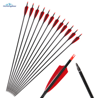 6pcs Hot Sale 31inch Pure Carbon Arrows Archery With Real Feathers Spine300 For Recurve Bow Traditional