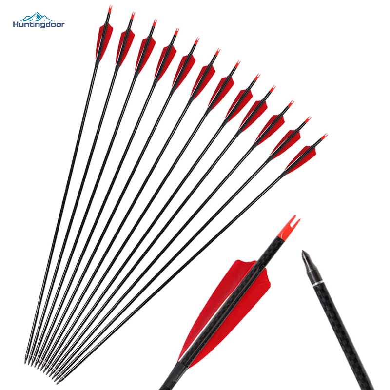 6pcs Hot Sale 31inch Pure Carbon Arrows Archery with Real Feathers Spine300 for Recurve Bow Traditional Longbow Target Shooting